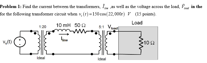 Find the current between the transformers, I~line,