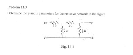 Determine the y and z parameters for the resistive