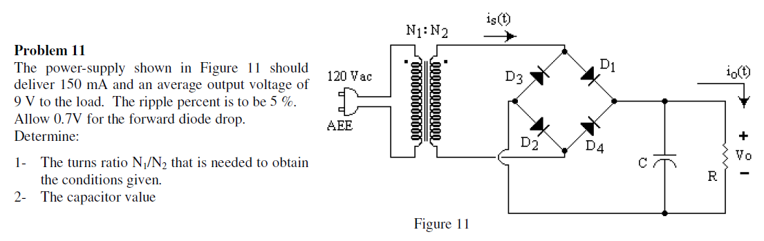 The power-supply shown in Figure 11 should deliver