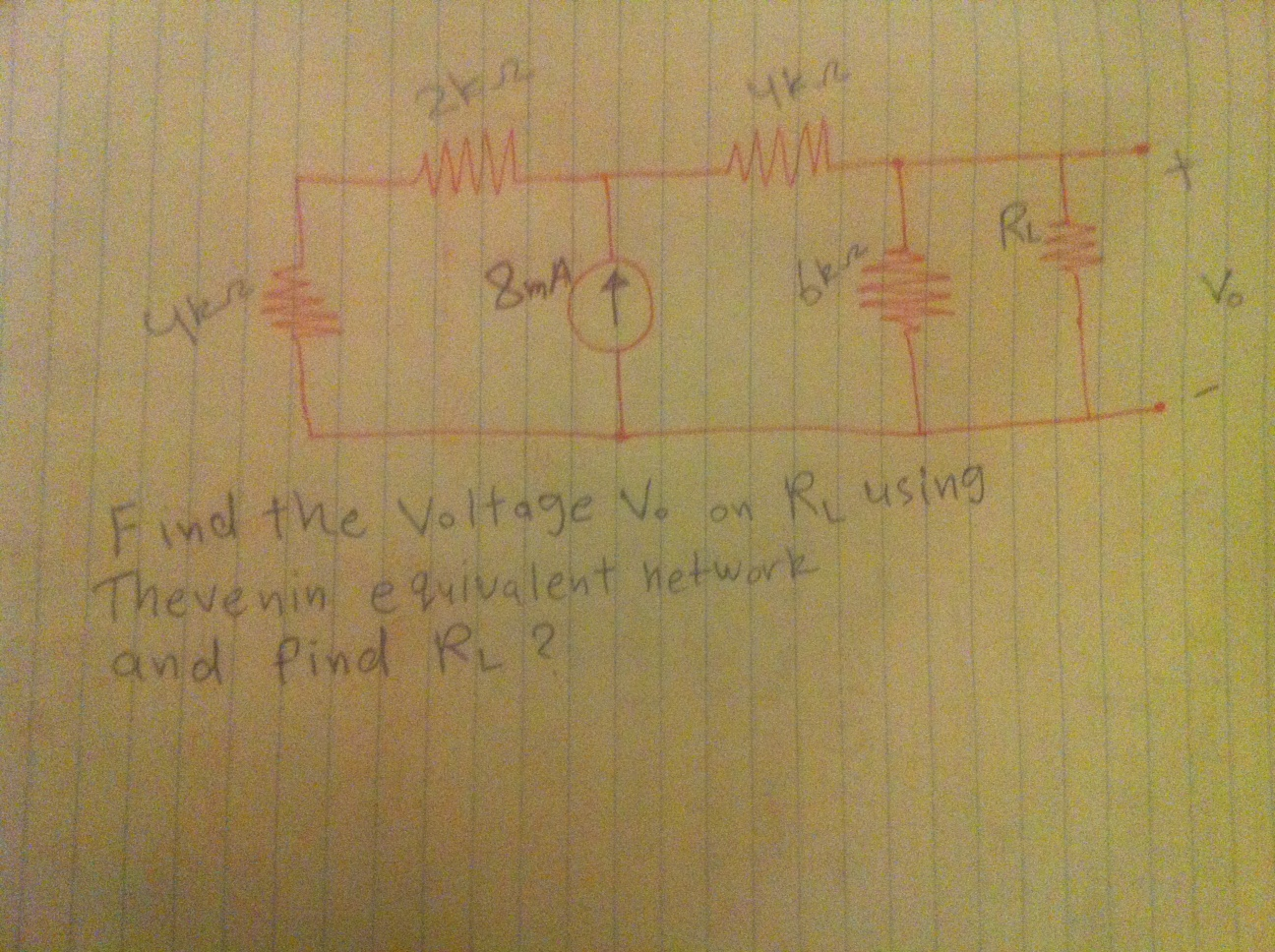 Find the Voltage V0 on RL using Thevenin equivalen