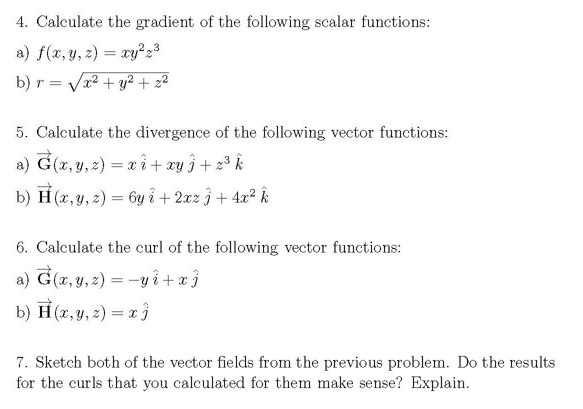 gradient divergence and curl solved problems pdf