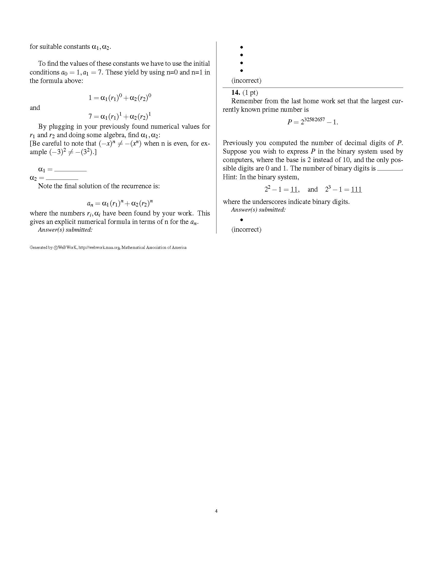 Homework recurrence solution