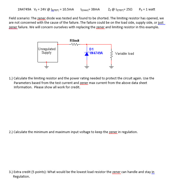 Field scenario: The zener diode was tested and fou