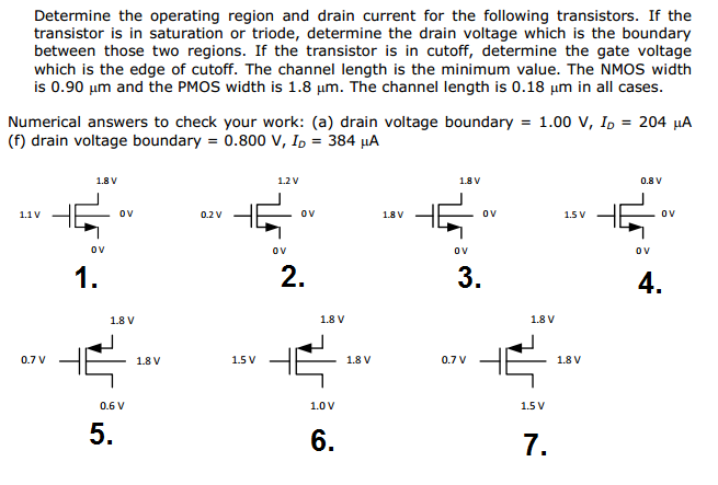 Determine the operating region and drain current f