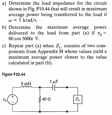 Determine the load impedance for the circuit shown