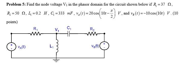 Find the node voltage V1 in the phasor domain for