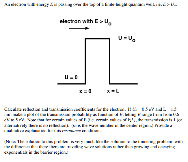 An electron with energy E is passing over the lop