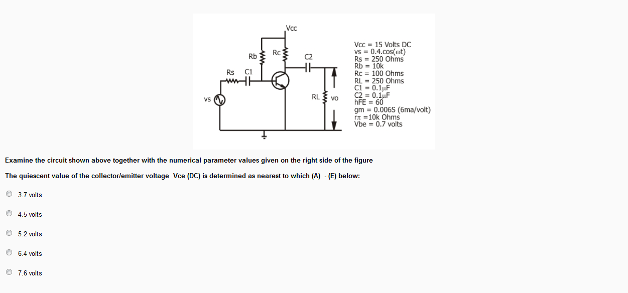 The circuit shown below is supplied with an input