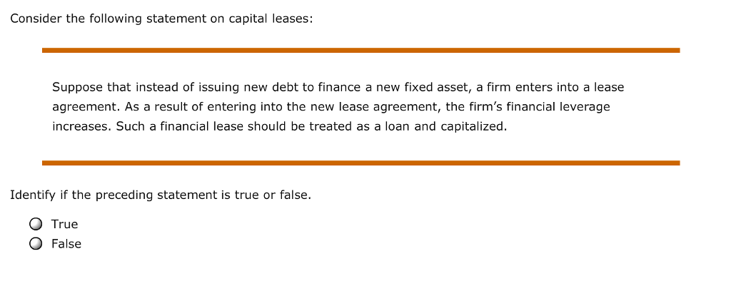 Solved Consider The Following Statement On Capital Leases