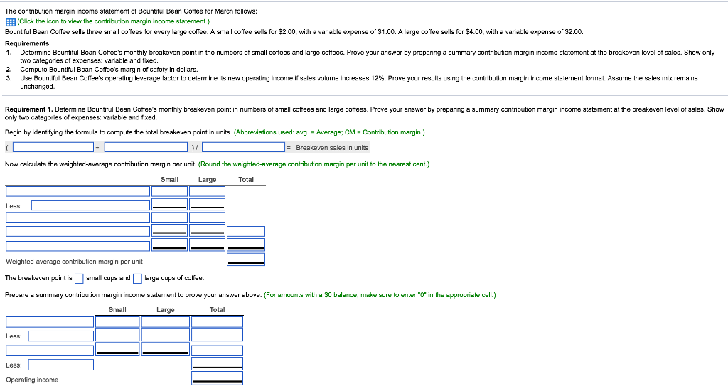Solved: The Contribution Margin Income Statement Of Bounti ...