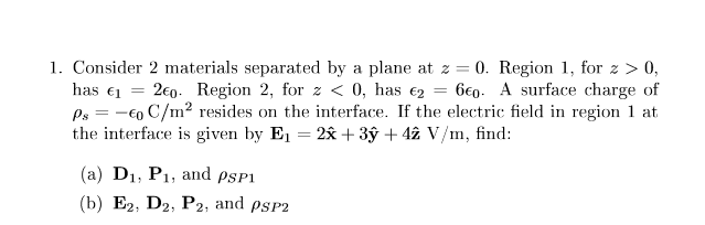 Consider 2 materials separated by a plane at z = 0
