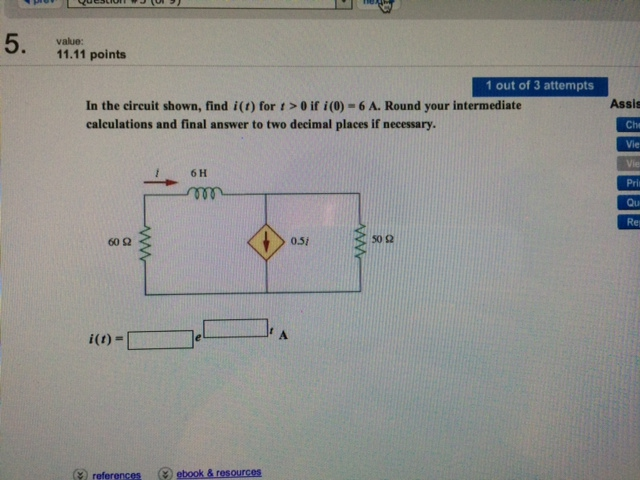 In the circuit shown, find i(t) for t > 0 if i(0)