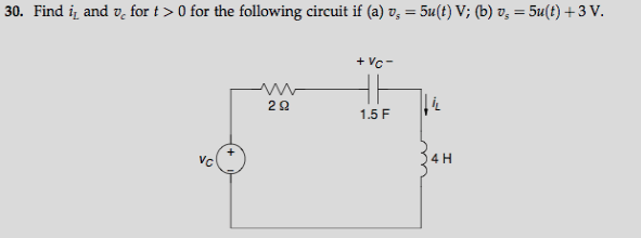 Find iL and vc for t > 0 for the following circuit
