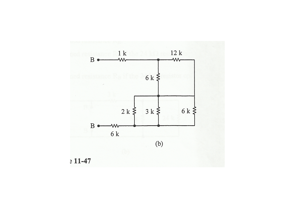 For the circuit (a) find the combined resistance R