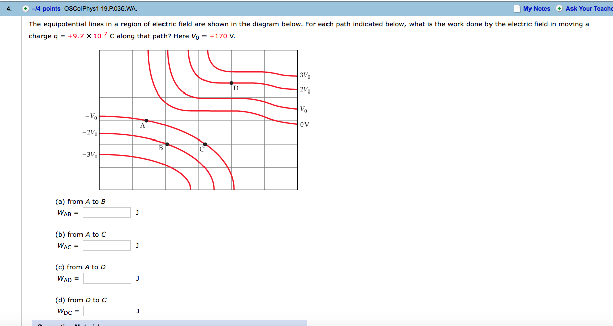 solved  the equipotential lines in a region of electric fi