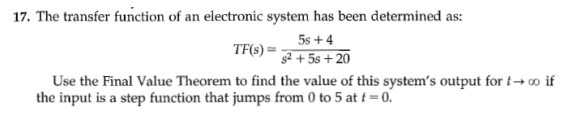 The transfer function of an electronic system has