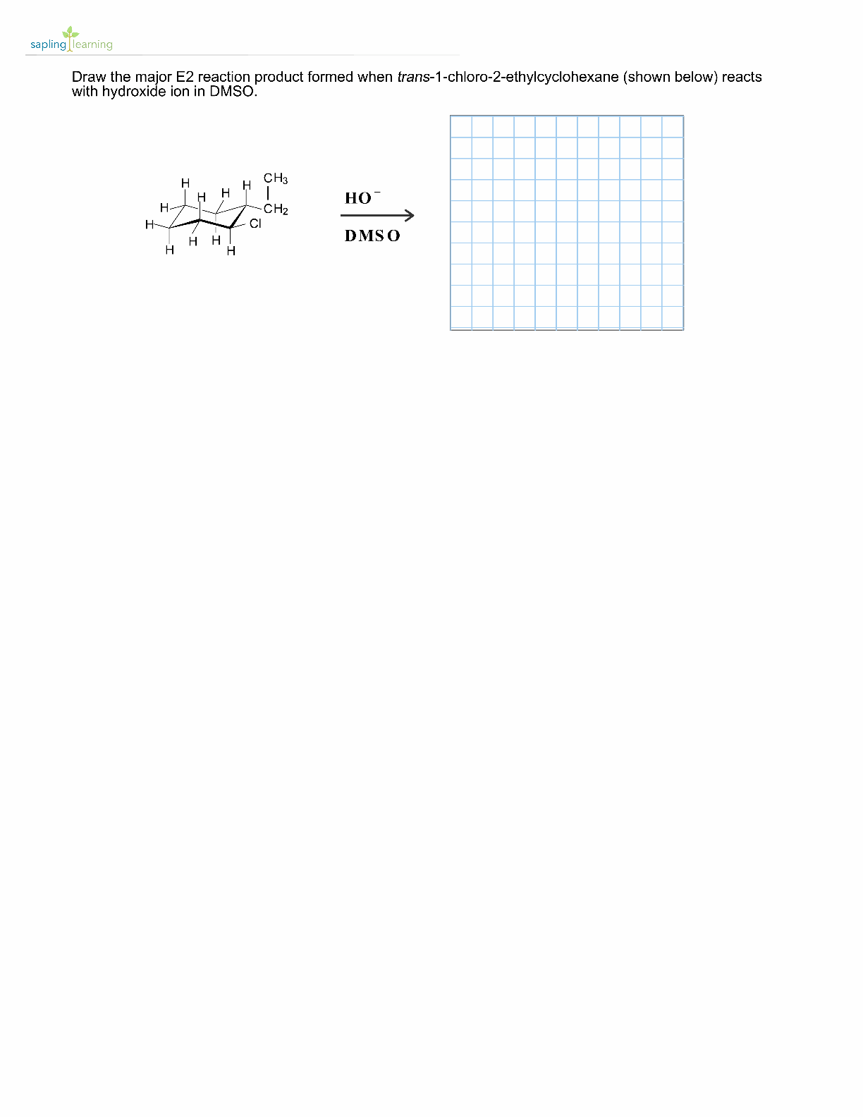 Draw the major E2 reaction product formed when tra