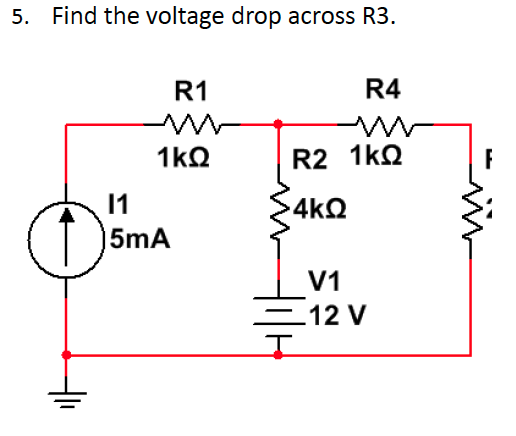 Find the voltage drop across R3.