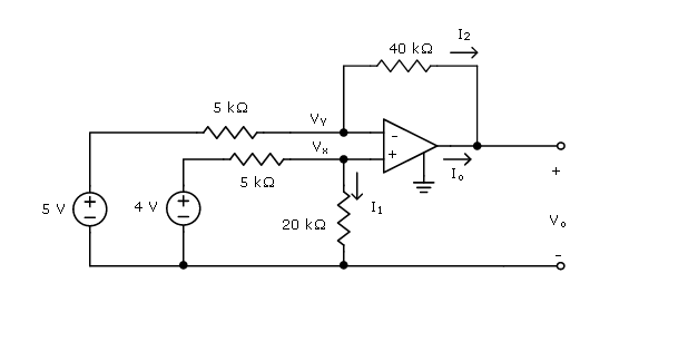 Using the ideal op amp model, determine V x , V y