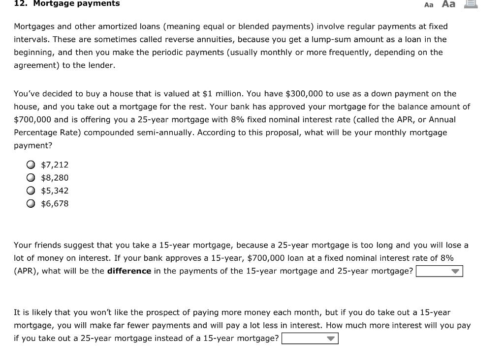 amortized mortgage