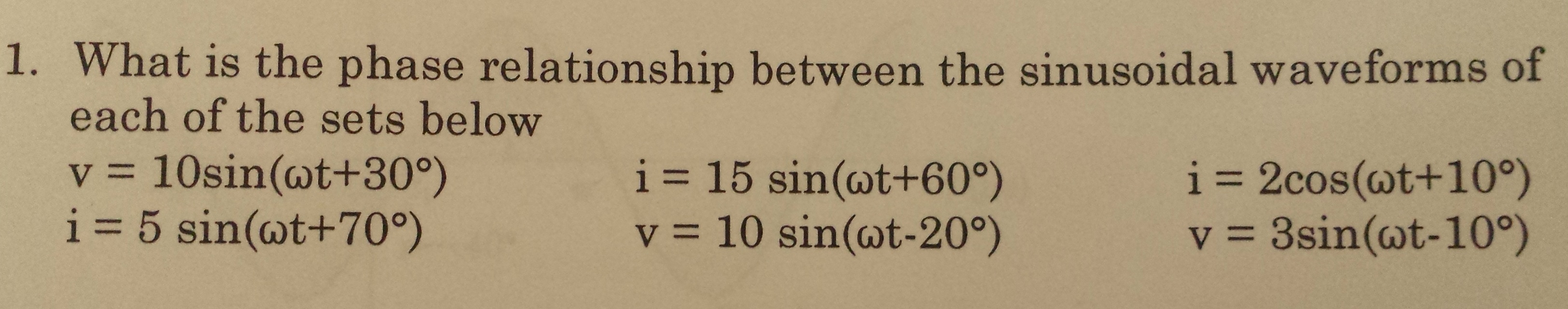 What is the phase relationship between the sinusoi