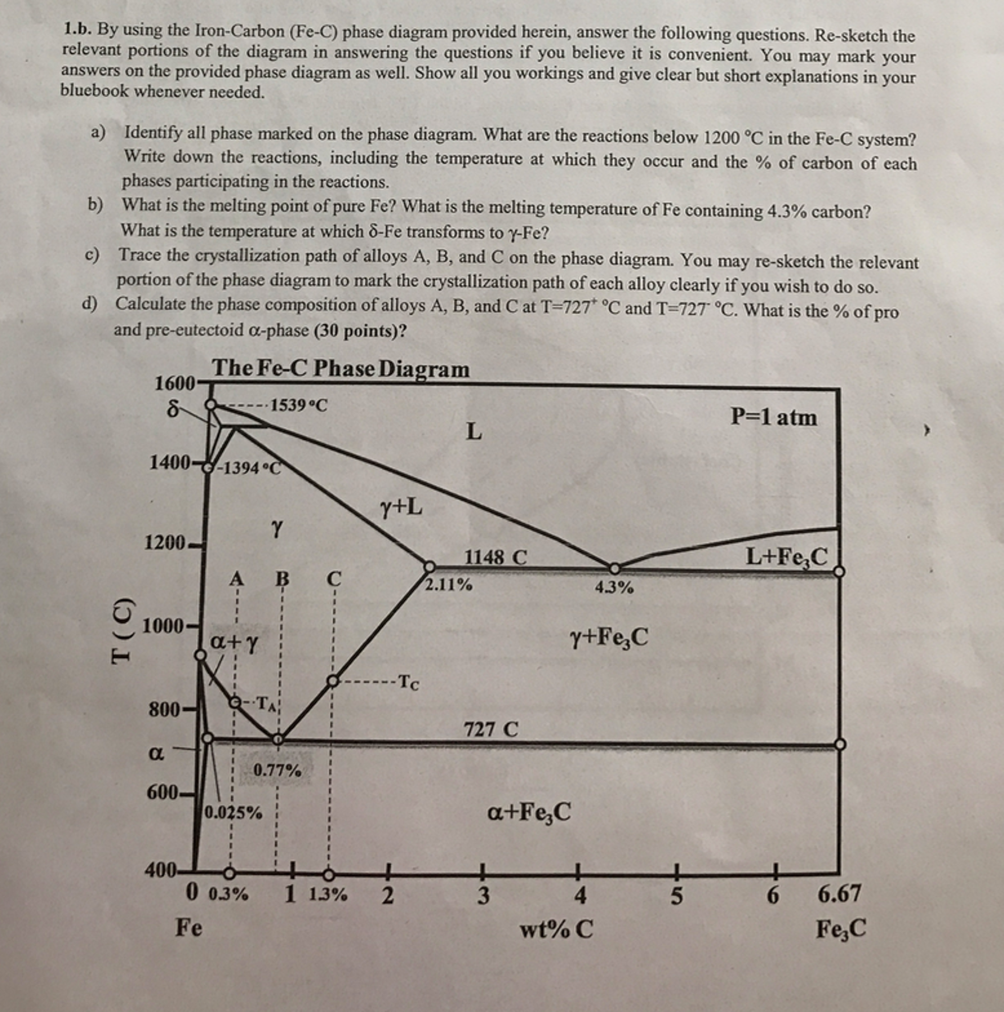 By using the iron carbon fe c phase diagram prov chegg by using the iron carbon fe c phase diagram prov pooptronica Gallery