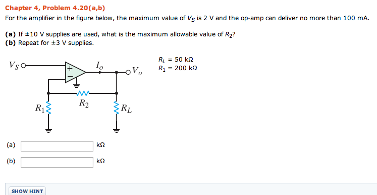 For the amplifier in the figure below, the maximum