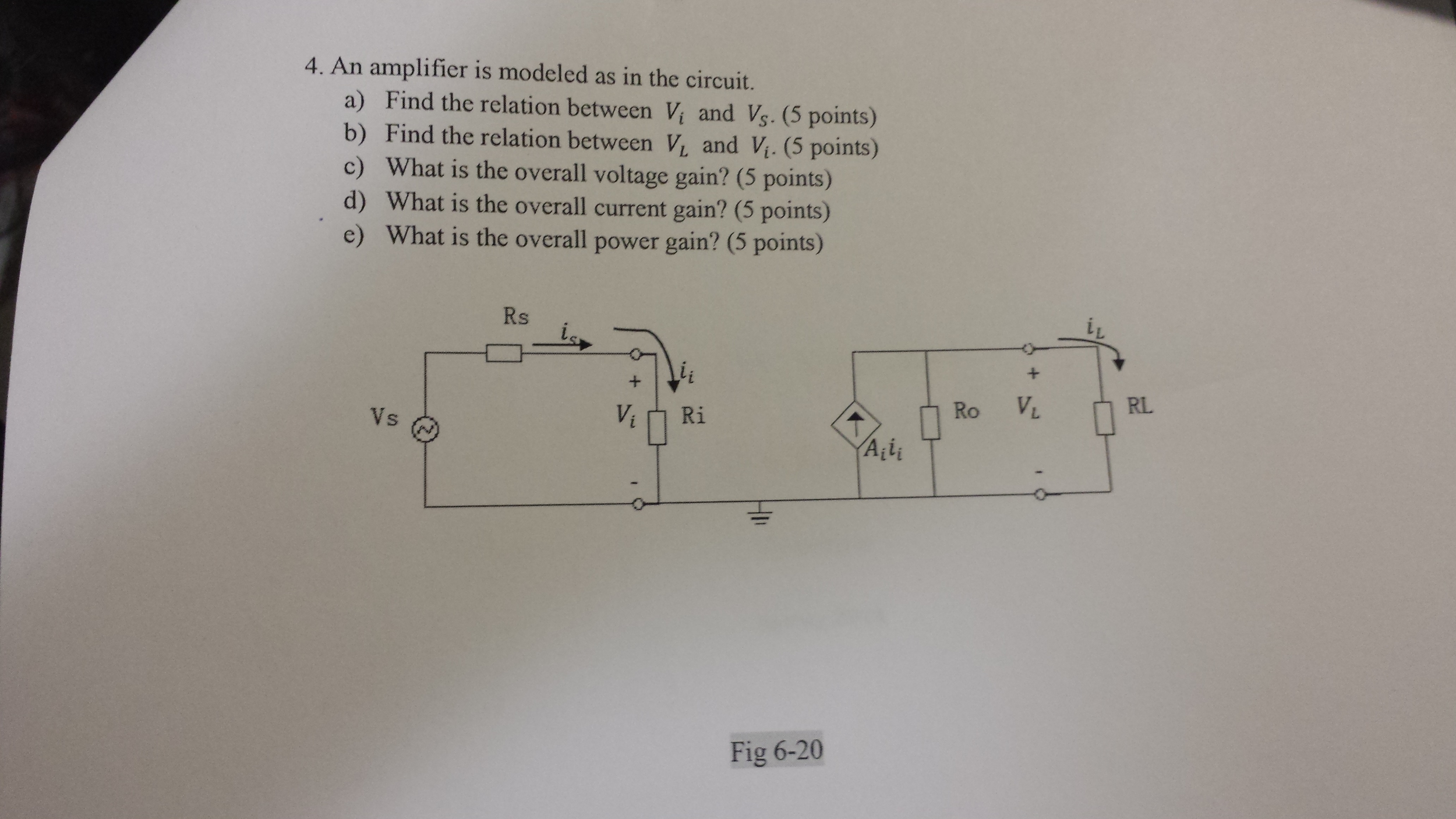 An amplifier is modeled as in the circuit. Find t