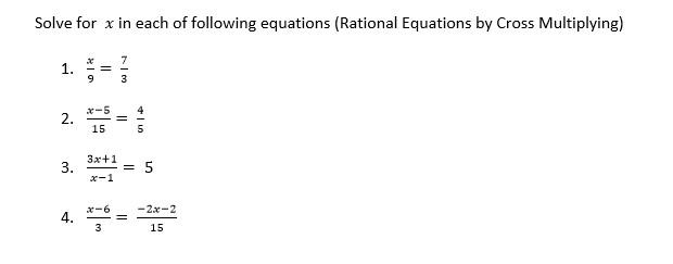 Solve for x in each of the following equations (Ra