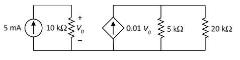 For the network in the figure, find the current, v