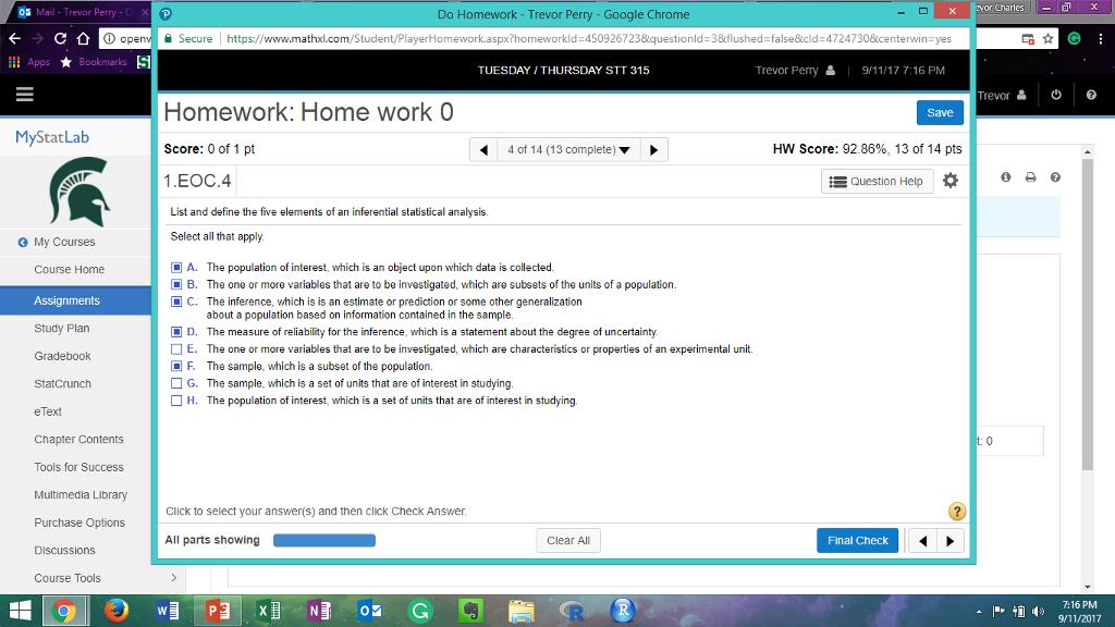 Question: Or CharlesX Mail- Trevor Perry -CxP Do Homework - Trevor Perry - Google Chrome ⓘop 을 Secure !