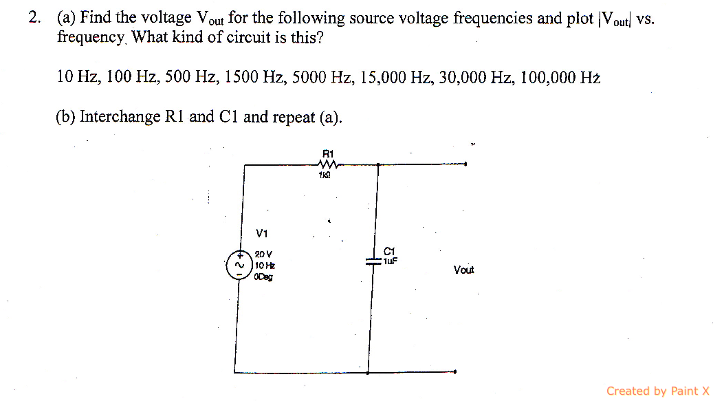Find the voltage Vout for the following source vol