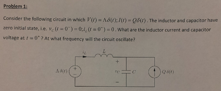 Consider the following circuit in which V(t) = A d