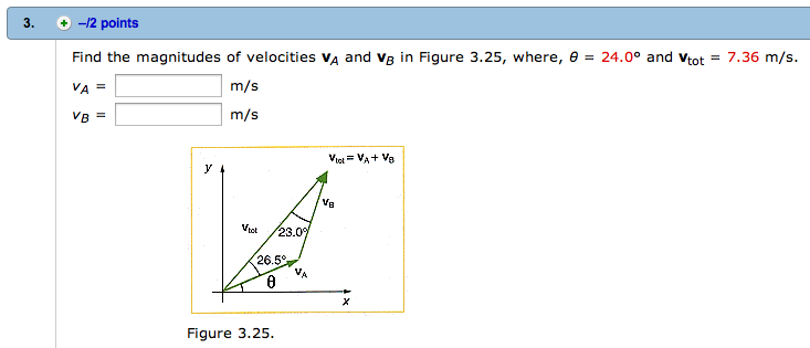 Find the magnitudes of velocities VA and VB in Fig