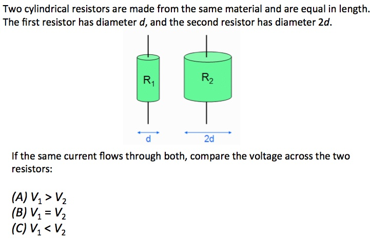 Two cylindrical resistors are made from the same m