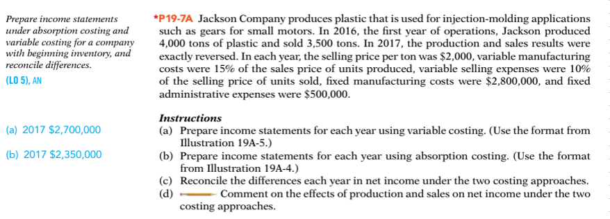 Show Transcribed Image Text Variable Costing Income Statement Absorption  Costing Income Statement Prepare Income Statements Under Absorption Costing  And ...