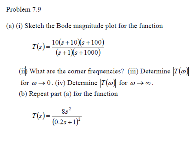 Sketch the Bode magnitude plot for the function Wh