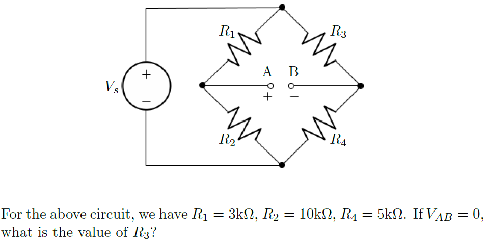 For the above circuit, we have R1 = 3kOhm, R2 =