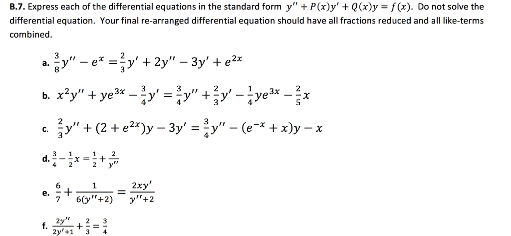 87. Express Each Of The Differential Equations In ... | Chegg.com
