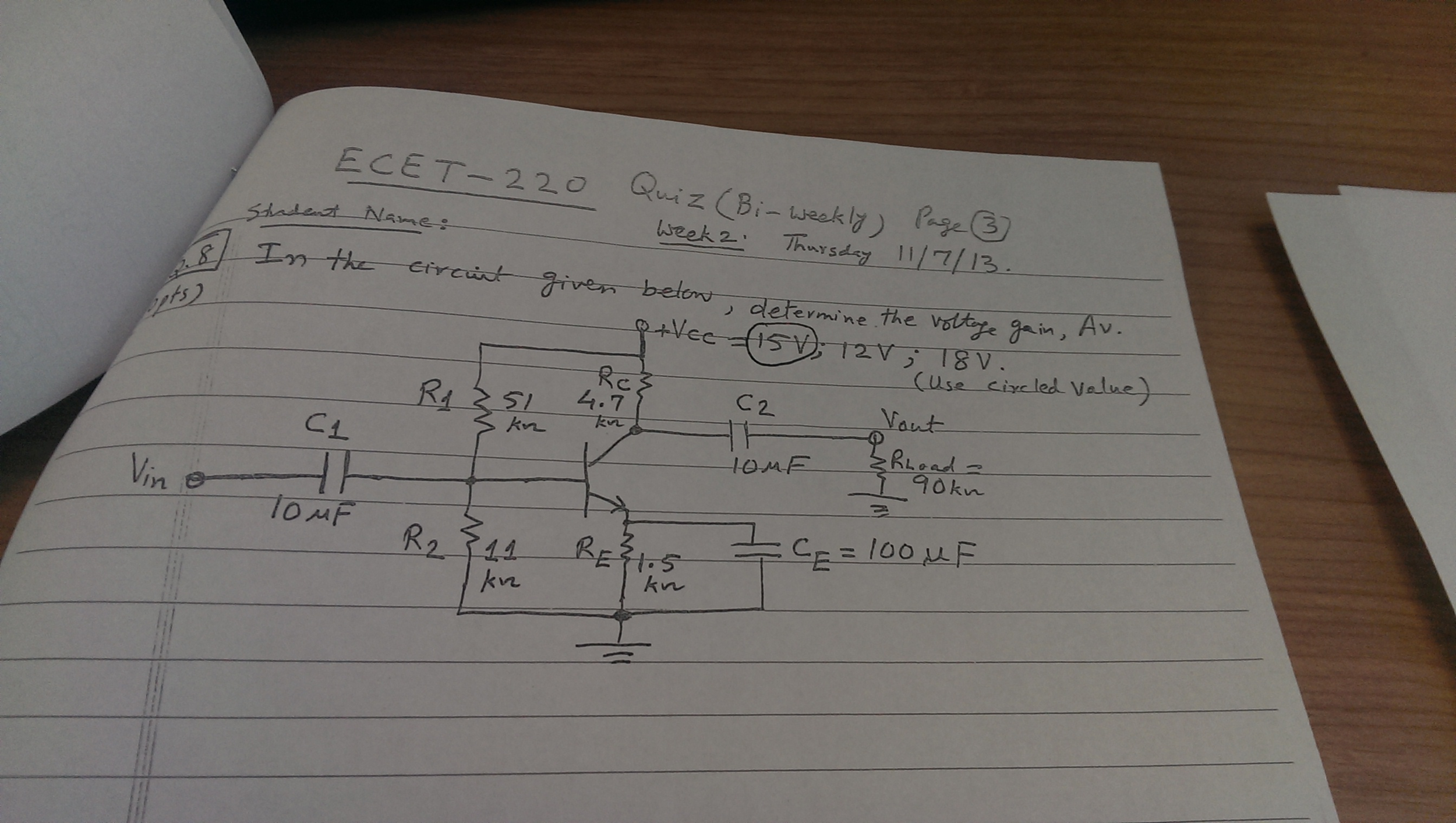 In the circuit given below, determine the voltage