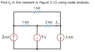Find I0. In the network in Figure 3.15 using nodal