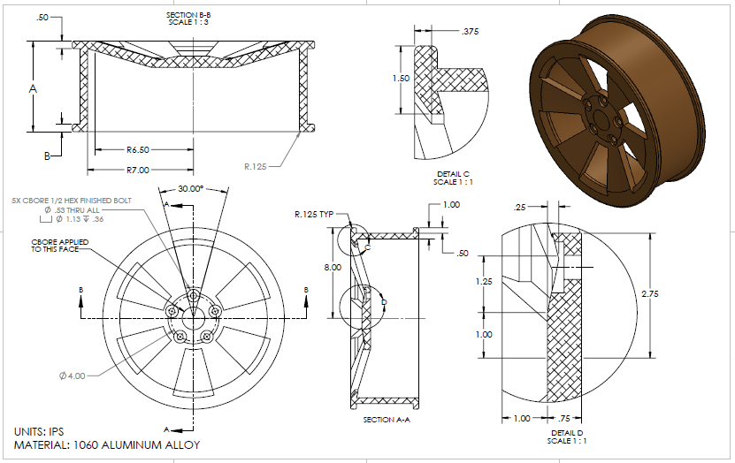 Solidworks find the volume of the wheel assume ip chegg secti b b 13 r6500 r7000 3000 5x cbore 1 ccuart Image collections
