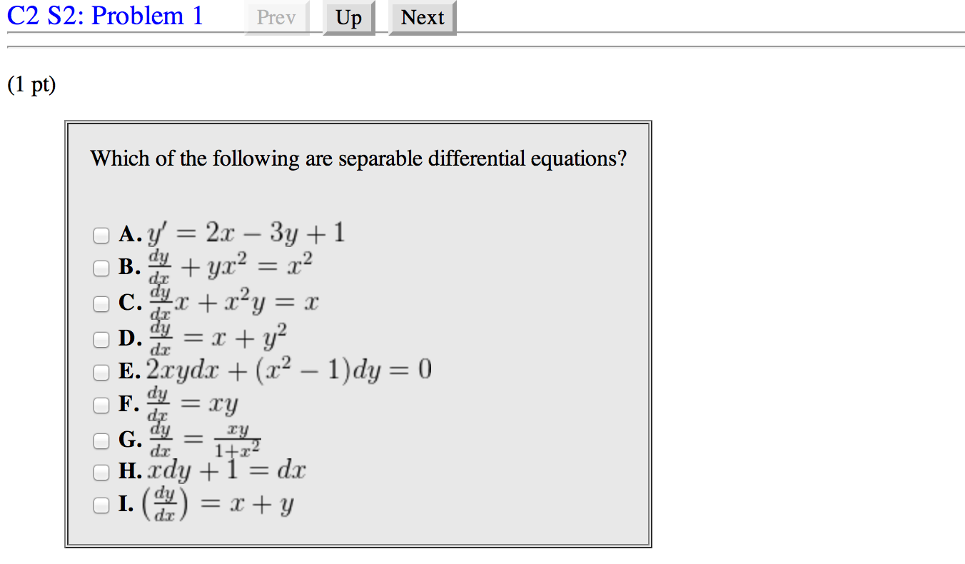 Which of the following are separable differential