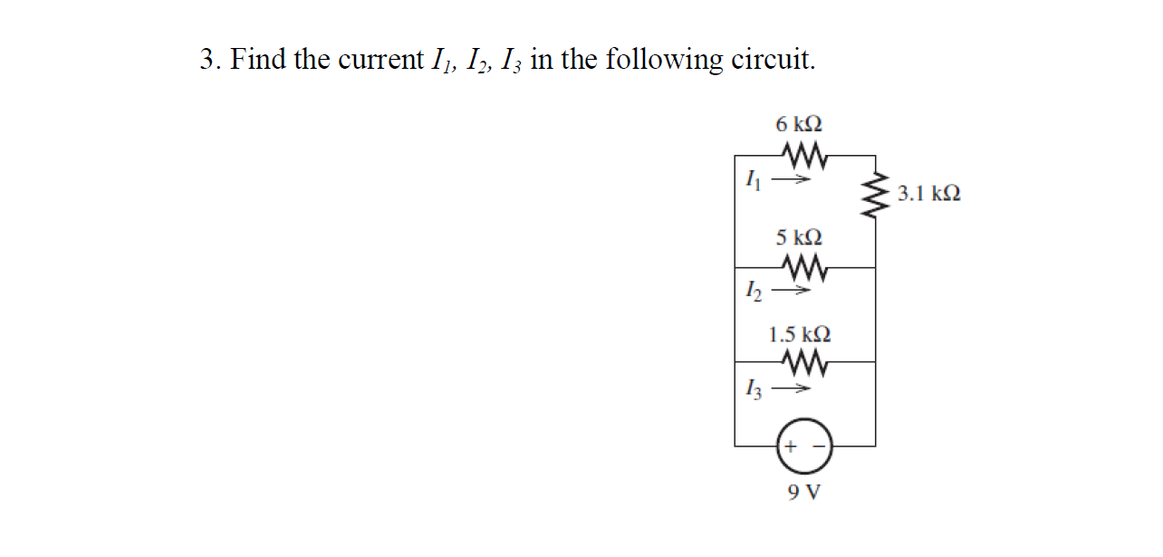 Find the current I1, I2, I3 in the following circu