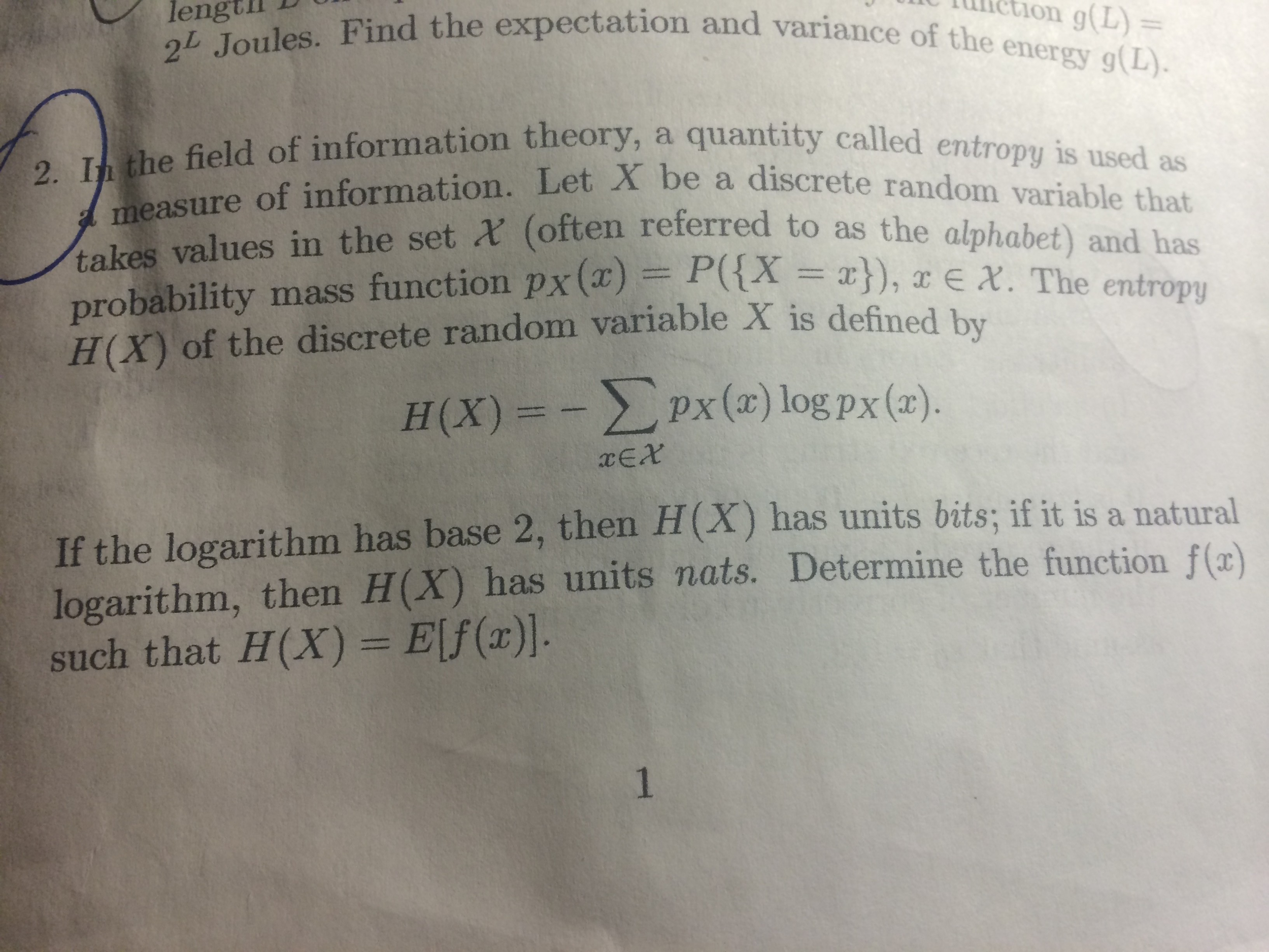 Information theory homework solution