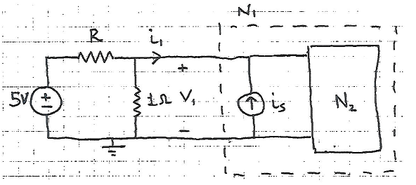 The circuit N_1 has v-i connection v_1 = 3i_1+7