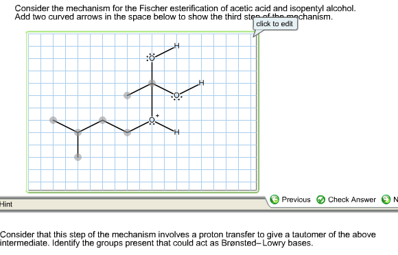 esterification of isopentyl alcohol to isopentyl acetate essay The reaction, called fischer esterification, occurs when an alcohol, in this case isoamyl alcohol, reacts with a carboxylic acid, glacial acetic acid here with the help of heat and an acid catalyst, an ester is formed.