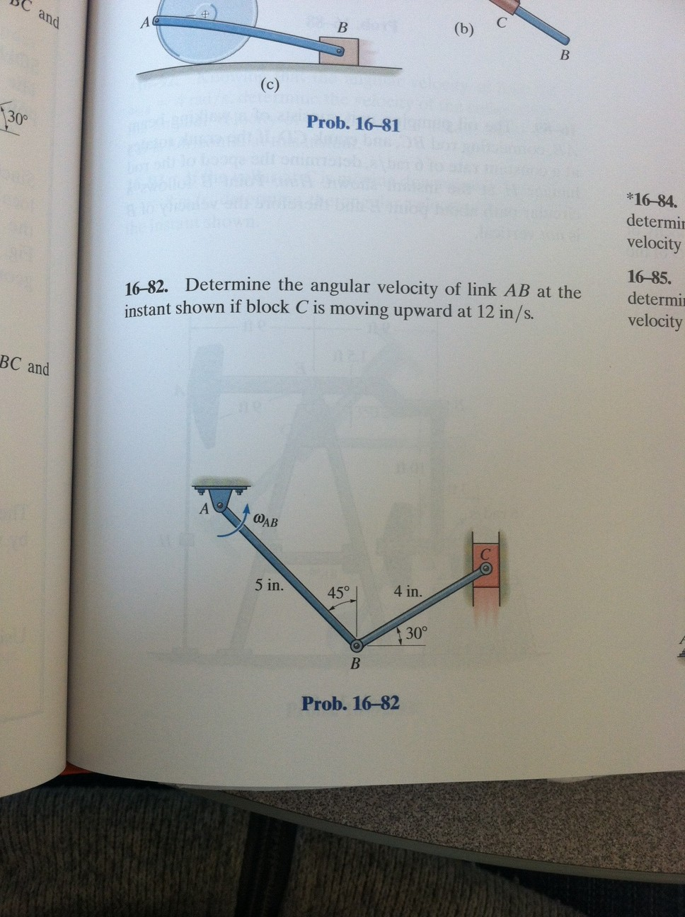 Determine the angular velocity of link AB if the b