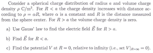 Consider a spherical charge distribution of radius chegg consider a spherical charge distribution of radius ccuart Image collections