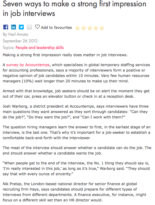 Seven Ways To Make A Strong First Impression In Job Interviews R ㎜ Add To  Favourites